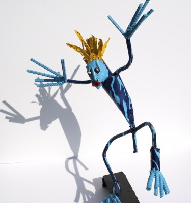 Blue Dude metal sculpture