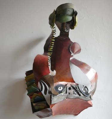 DJ wall sculpture welded steel wall art