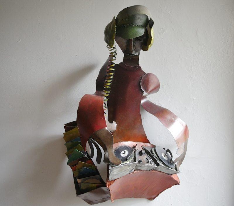 DJ wall sculpture welded steel wall art
