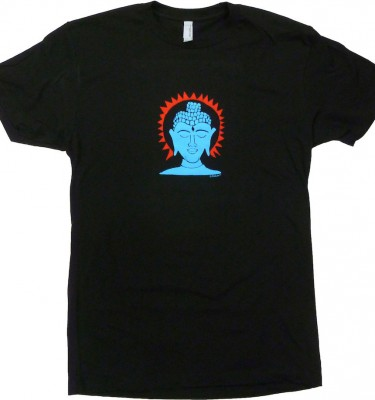 Crew neck Buddha fitted black t shirt