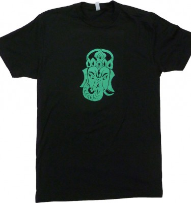 Crew neck Ganesha fitted black t shirt