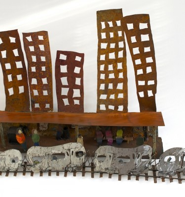 Hanging New York Subway metal wall sculpture by Noah