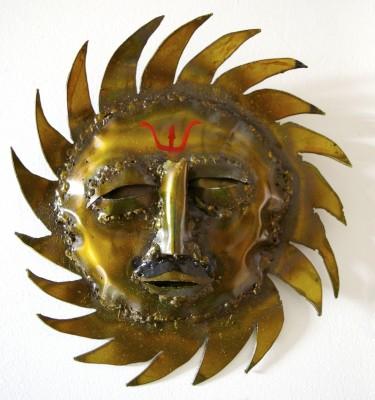 Surya Sun God Sculpture yoga art wall hanging metal sculpture by Noah