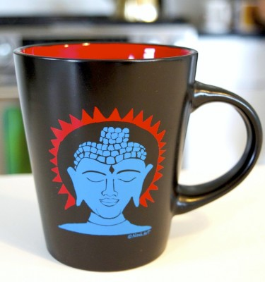 Buddha coffee cup with red