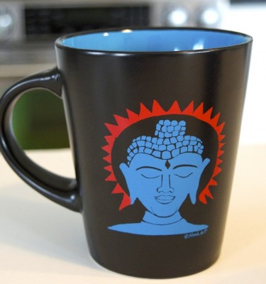 Buddha cup yoga art mug black outside blue inside