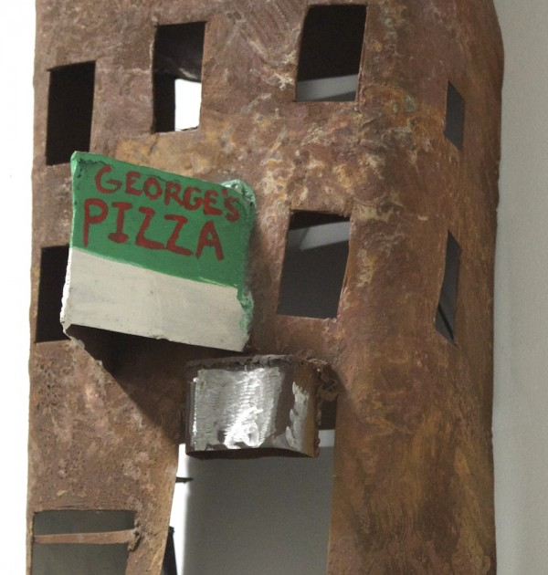 George's Pizza metal apartment sculpture