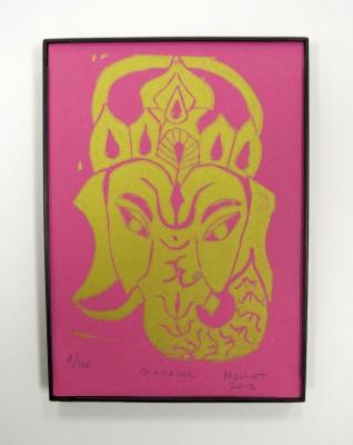 Ganesha print linoleum block framed yoga art print