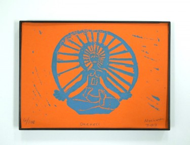 block print yoga art Oneness by Noah Baumwoll