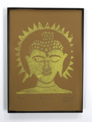 Buddha print framed and made from carved linoleum block