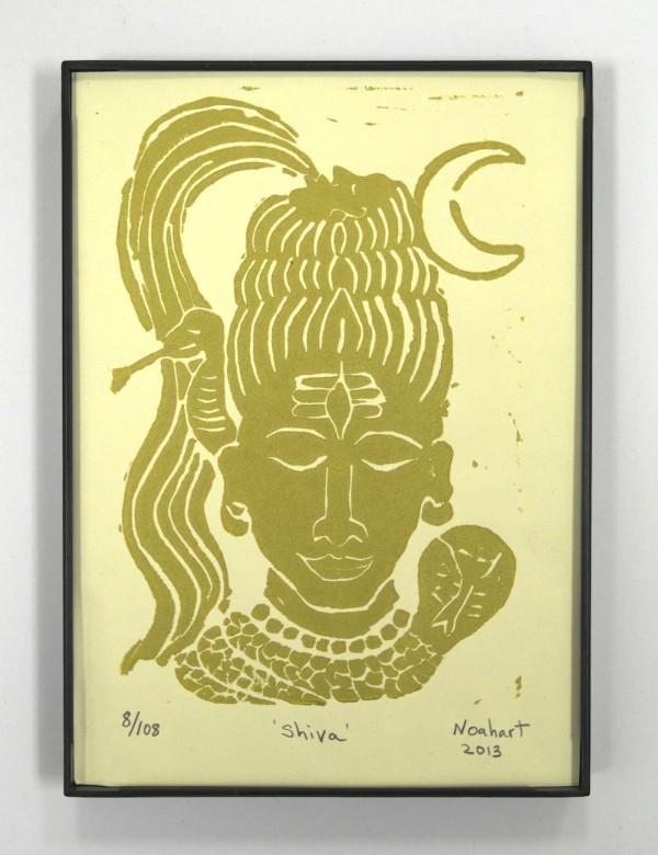 Shiva print in gold framed yoga art print