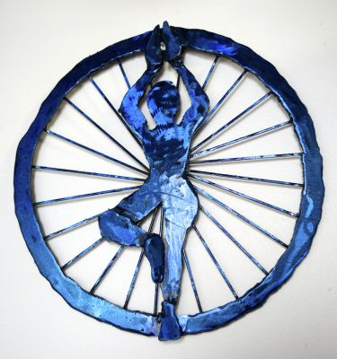 Yoga Art Tree Pose Ajna Chakra metal wall sculpture