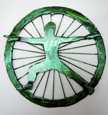 warrior ii yoga art anahata chakra wall sculpture