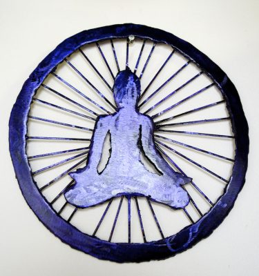 chakra yoga asana metal wall sculpture