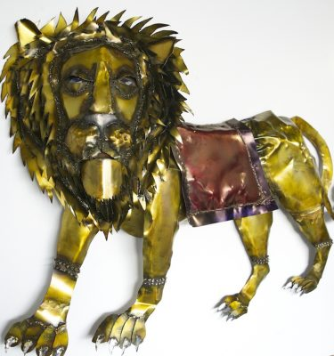 Duga's Lion hanging metal wall sculpture