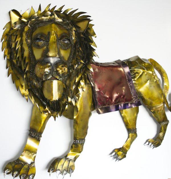Duga's Lion hanging metal wall sculpture