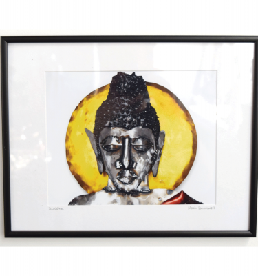 Buddha framed 8 x 10 photo print of a metal sculpture by Noah Baumwoll
