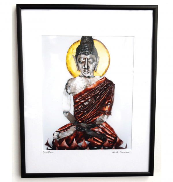 Lord Buddha 8 x 10 limited edition framed photo print of a 3 foot steel wall sculpture
