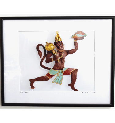 Hanuman sculpture framed photo