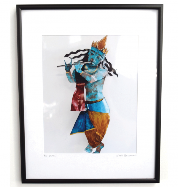 8 x 10 framed photo Krishna wall sculpture by Noah Baumwoll