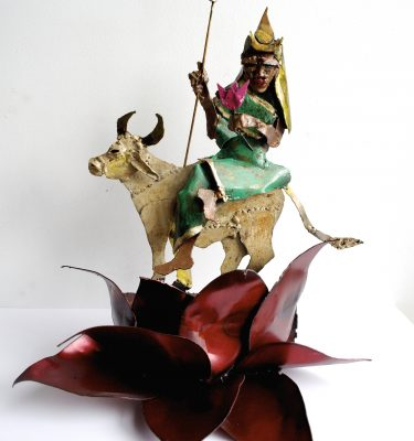 Shailputri Ma metal sculpture yoga art by Noah Baumwoll