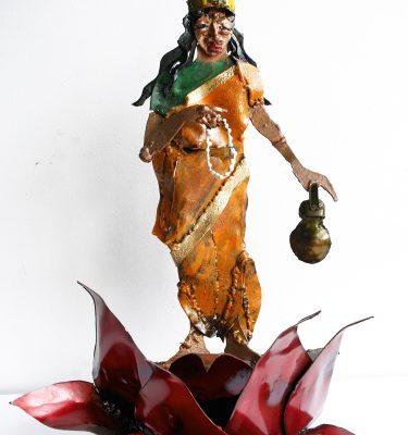 Brahmacharini Ma steel sculpture yoga art by Noah Baumwoll