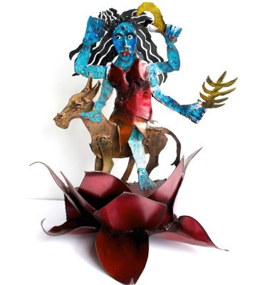 Navratri night 7 Kalaratri Ma metal sculpture by Noah Baumwoll