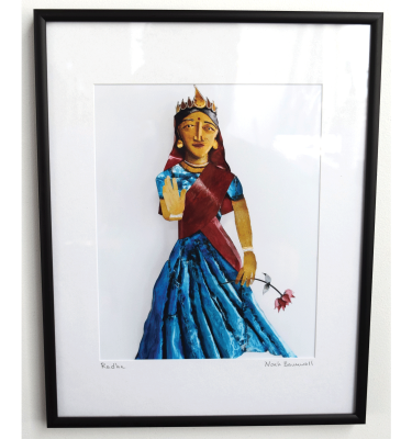 Photo print of Radha a welded steel wall sculpture by Noah Baumwoll