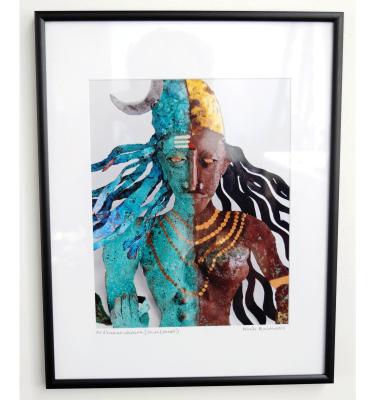 Ardhanariswara photo print of metal wall sculpture by Noah Baumwoll