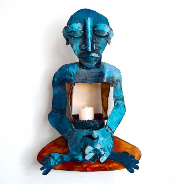 meditation blue yogi wall art